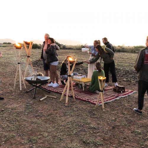 Bivouac café matinal chez Maroc Montgolfière - Hot Air Balloon Marrakesh morning coffee